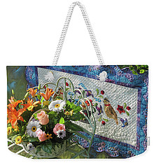 Weekender Tote Bag featuring the mixed media Colordance With Quail Quilt by Nancy Lee Moran