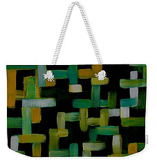 Weekender Tote Bag featuring the painting Colored Lines On Black by Patricia Cleasby