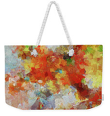 Weekender Tote Bag featuring the painting Colorful Abstract Landscape Painting by Ayse Deniz