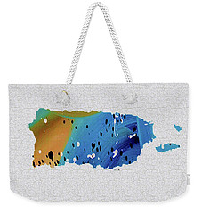 Colorful Art Puerto Rico Map Blue And Brown Weekender Tote Bag