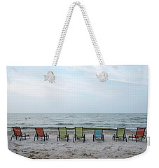 Weekender Tote Bag featuring the photograph Colorful Beach Chairs by Ann Bridges
