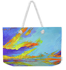 Weekender Tote Bag featuring the painting Colorful Beach Sunset Oil Painting  by Patricia Awapara