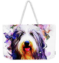 Colorful Bearded Collie Weekender Tote Bag