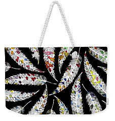 Colorful Black And White Leaves Weekender Tote Bag