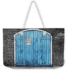Colorful Blue Garage Door French Quarter New Orleans Color Splash Black And White And Poster Edges Weekender Tote Bag by Shawn O'Brien