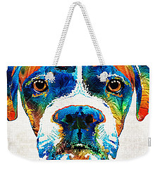 Weekender Tote Bag featuring the painting Colorful Boxer Dog Art By Sharon Cummings  by Sharon Cummings