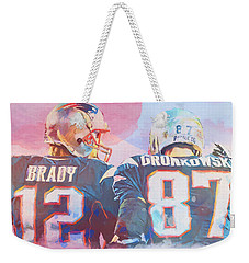 Weekender Tote Bag featuring the painting Colorful Brady And Gronkowski by Dan Sproul