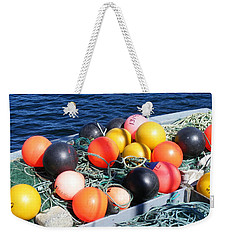 Weekender Tote Bag featuring the photograph Colorful Buoys by Barbara Griffin