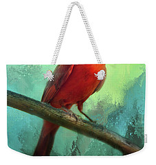 Colorful Cardinal Weekender Tote Bag by Barbara Manis