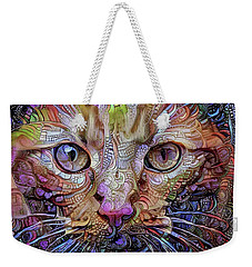 Colorful Cat Art Weekender Tote Bag by Peggy Collins