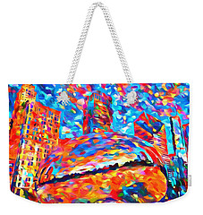 Weekender Tote Bag featuring the painting Colorful Chicago Bean by Dan Sproul