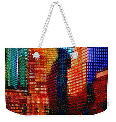Weekender Tote Bag featuring the digital art Colorful City Abstract Mosaic by Shelli Fitzpatrick