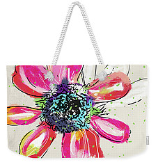 Weekender Tote Bag featuring the mixed media Colorful Daisy- Art By Linda Woods by Linda Woods