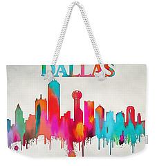 Colorful Dallas Skyline Silhouette Weekender Tote Bag by Dan Sproul