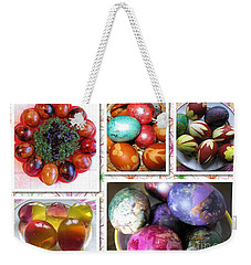 Weekender Tote Bag featuring the photograph Colorful Easter Eggs Collage 07 by Ausra Huntington nee Paulauskaite