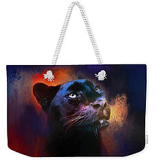 Colorful Expressions Black Leopard Weekender Tote Bag by Jai Johnson