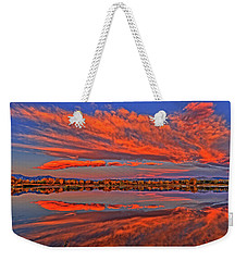 Weekender Tote Bag featuring the photograph Colorful Fall Morning by Scott Mahon
