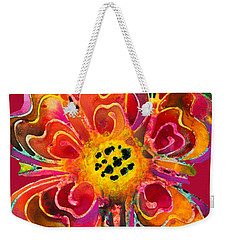 Weekender Tote Bag featuring the painting Colorful Flower Art - Summer Love By Sharon Cummings by Sharon Cummings