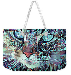 Colorful Flower Cat Art - A Cat Called Blue Weekender Tote Bag