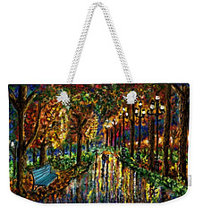Weekender Tote Bag featuring the digital art Colorful Forest by Darren Cannell