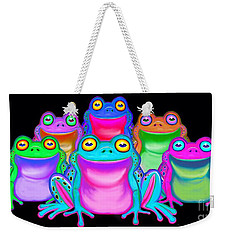 Weekender Tote Bag featuring the painting Colorful Froggies by Nick Gustafson