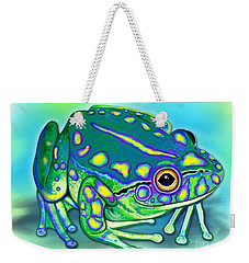 Weekender Tote Bag featuring the painting Colorful Froggy by Nick Gustafson