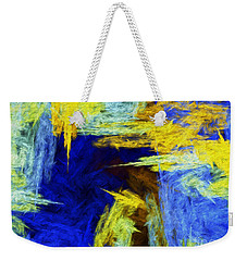 Weekender Tote Bag featuring the digital art Colorful Frost Abstract by Andee Design
