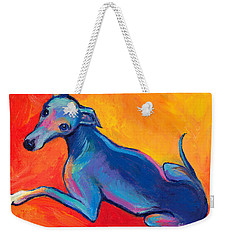 Colorful Greyhound Whippet Dog Painting Weekender Tote Bag