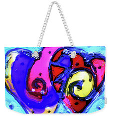 Weekender Tote Bag featuring the painting Colorful Hearts Equals Crazy Hearts by Genevieve Esson