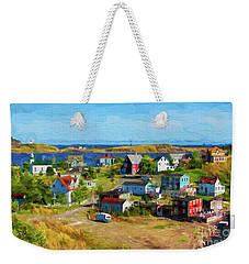 Colorful Homes In Trinity, Newfoundland - Painterly Weekender Tote Bag by Les Palenik
