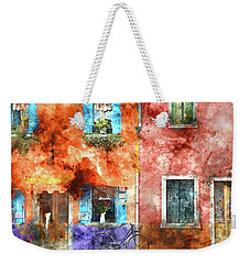 Colorful Houses In Burano Island, Venice Weekender Tote Bag