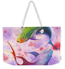 Weekender Tote Bag featuring the painting Colorful Koi by Darice Machel McGuire