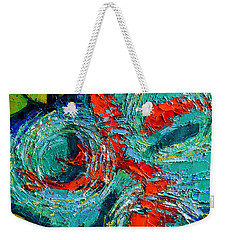 Colorful Koi Fishes In Lily Pond Weekender Tote Bag by Mona Edulesco