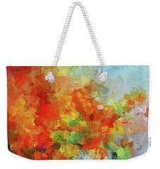 Weekender Tote Bag featuring the painting Colorful Landscape Art In Abstract Style by Ayse Deniz