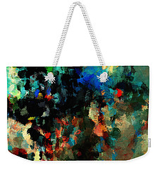Weekender Tote Bag featuring the painting Colorful Landscape / Cityscape Abstract Painting by Ayse Deniz