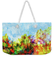 Weekender Tote Bag featuring the painting Colorful Landscape Painting In Abstract Style by Ayse Deniz