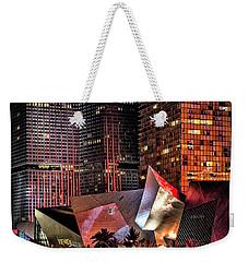 Colorful Las Vegas Evening Street Scene Weekender Tote Bag by Walt Foegelle