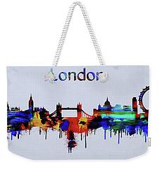 Colorful London Skyline Silhouette Weekender Tote Bag by Dan Sproul