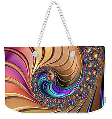 Weekender Tote Bag featuring the digital art Colorful Luxe Fractal Spiral by Matthias Hauser