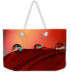 Colorful Macro Water Drops Weekender Tote Bag by Angela Murdock