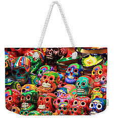 Colorful Mexican Day Of The Dean Ceramic Skulls Weekender Tote Bag by Roupen  Baker
