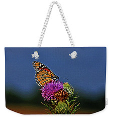 Weekender Tote Bag featuring the photograph Colorful Monarch by Sandy Keeton