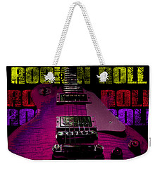 Weekender Tote Bag featuring the photograph Colorful Music Rock N Roll Guitar Retro Distressed T-shirt by Guitar Wacky