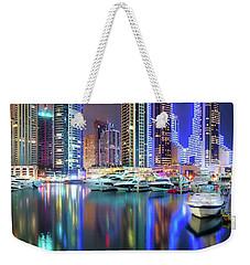 Colorful Night Dubai Marina Skyline, Dubai, United Arab Emirates Weekender Tote Bag