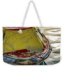 Colorful Old Red And Yellow Boat During Golden Hour In Croatia Weekender Tote Bag