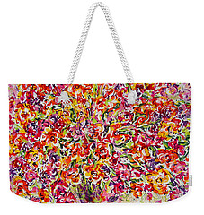 Weekender Tote Bag featuring the painting Colorful Organza by Natalie Holland