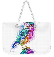 Colorful Owl Weekender Tote Bag by Marian Voicu