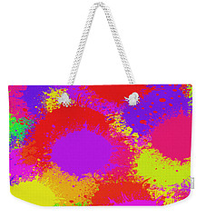 Weekender Tote Bag featuring the digital art Colorful Paint Splash Abstract Pop Art by Shelli Fitzpatrick