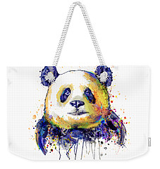 Weekender Tote Bag featuring the mixed media Colorful Panda Head by Marian Voicu