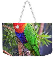 Colorful Parakeet Weekender Tote Bag by Stephanie Hayes